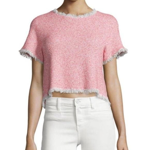 c1db6a8060e27 NWT REBECCA TAYLOR Pink Summer Tweed Peplum Top 4